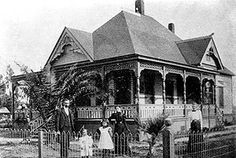 The George C. Clark house, now the Heritage House in the Fullerton Arboretum, a century ago in the heart of downtown Fullerton.