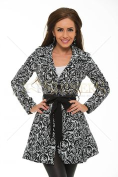 Artista Royal Roses Black Trechcoat Product Label, Fall Collections, Trench, Floral Prints, Rompers, Elegant, Coat, Long Sleeve, Casual