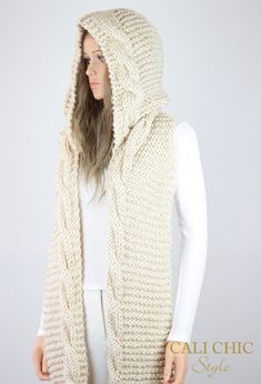 Vail Hooded Cable Scarf Pattern 37 Knit by CaliCouturePatterns Hooded Scarf Pattern, Crochet Hooded Scarf, Scarf Knit, Adele, Diy Scarf, Pattern Fashion, Celine, Knitting Patterns, Knitting Tutorials