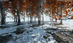 ArtStation - [UE4] White Of Birch Trees With Yellow Leaves, Minsic Joo