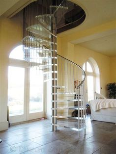 60 Best Spiral Staircase Ideas, The Complete Knowhow - Enjoy Your Time Stair Handrail, Staircase Railings, Curved Staircase, Modern Staircase, Spiral Staircases, Glass Stairs, Wood Stairs, House Stairs, Spiral Stairs Design