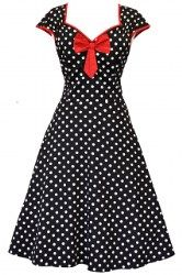 """Black Polka Dot """"Isabella"""" Dress - £45. Made in London. Available in Sizes 8-20/22."""