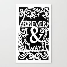 Forever & Always - Black Background Stretched Canvas by Rachel Winkelman - $85.00