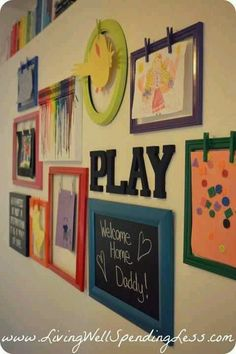Cute way to display child's artwork. Hot glue clothes pins to picture frame and paint.