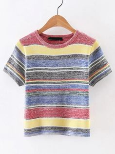 Buy Short Sleeve Striped Knitwear from abaday.com, FREE shipping Worldwide - Fashion Clothing, Latest Street Fashion At Abaday.com