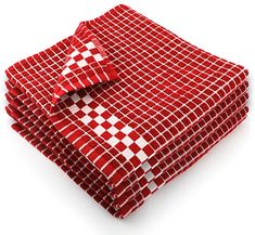 Fecido Classic Dark Kitchen Dish Towels with Hanging Loop - Heavy Duty Absorbent Dish Clothes - European Made Cotton Tea Towels - Set of Red - Gift Options Showcase
