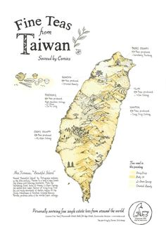 tea map of taiwan, poster by donna enticknap - painted with teas from taiwan