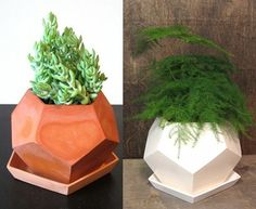 Geo planters on @designsponge from etsy shop mgmy