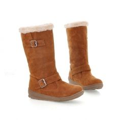 $17.50 Casual Women's Snow Boots With Solid Color Flat Heel Belts Buckles Design  Sammydress #Thanksgiving Wishlist