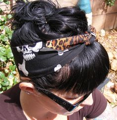 Really cute hairstyle  Hula Skull Hair Tie  Bandana  Rockabilly Hair Tie  by RockinMamaBG, $9.50