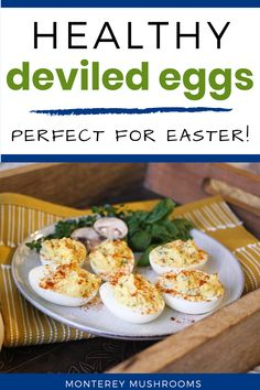 Planning out your Easter food ideas? Try these healthy deviled eggs, perfect for spring! They're packed with flavor and perfect for an Easter appetizer. Easter Appetizers, Yummy Appetizers, Appetizer Recipes, Snack Recipes, Baby Bella Mushroom Recipes, Best Mushroom Recipe, Best Gluten Free Recipes, Gluten Free Cooking, Mushroom Side Dishes