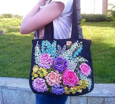 Embroidered bag Canvas tote shoulder bag by beautifullbags on Etsy Silk Ribbon Embroidery, Hand Embroidery Patterns, Embroidery Designs, Ribbon Art, Ribbon Crafts, Floral Tote Bags, Flower Bag, Fabric Purses, Canvas Messenger Bag
