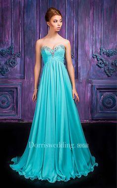 #Dorris Wedding - #Dorris Wedding A-line Floor-length Sweetheart Sleeveless Chiffon Zipper Dress - AdoreWe.com