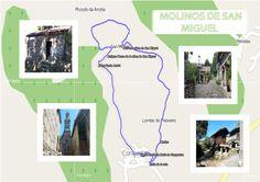 Fichas de la ruta de los molinos de San Miguel Map, Saints, San Miguel, Paths, Note Cards, Fotografia, Location Map, Maps