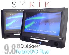 "Sykik 9.8"" Dual screen portable DVD player with built-in rechargeable battery. For use in car , home or on the go. Region free for worldwide use. SD USB with all accessories"