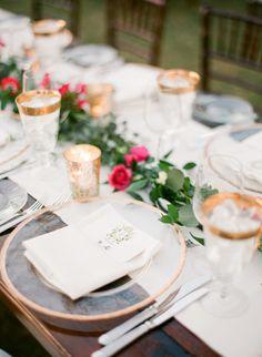 Gilded glassware: http://www.stylemepretty.com/2015/04/28/red-french-blue-al-fresco-estate-wedding/   Photography: Justin DeMutiis - http://justindemutiisphotography.com/