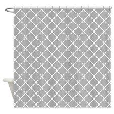 Elegant Light Grey Moroccan Lattice Shower Curtain