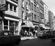 """The Coffee Inn, South Anne Street, Described in 1980 as the """"only place for cappuccino, hot chocolate and spaghetti,"""" the Coffee Inn on South Anne Street enjoyed an impressive life-span from 1954 to I worked there in the Summer Holidays. Old Pictures, Old Photos, Irish Times, Dublin City, Cork Ireland, Street View, 1960s, Explore, Hot Chocolate"""