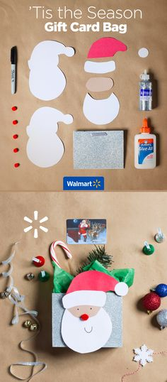 'Tis the Season Gift Card Bag | Walmart - Add some fun to their gift cards with this adorable Santa holder. Everything you need for this and other creative gift card ideas are at Walmart.