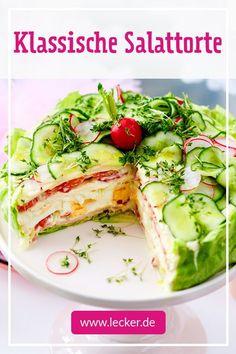 Salad varieties – the two best recipes for party and buffet – Barbara Biber Salattorten – die zwei besten Rezepte für Party und Buffet Salads – the two best recipes for party and buffet Salad Recipes, Diet Recipes, Snack Recipes, Healthy Recipes, Party Recipes, Snacks, Cake Recipes, Buffet Party, Salad Cake