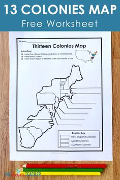 Let your students get creative with this FREE 13 Colonies map worksheet! This freebie makes a fun addition to any 13 Colonies history projects, activities, or lessons! This worksheet was created with grade through middle school education in mind. 7th Grade Social Studies, Social Studies Notebook, Social Studies Classroom, Teaching Social Studies, School Classroom, Map Worksheets, Social Studies Worksheets, Printable Worksheets, Printables