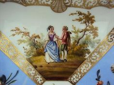 Beautiful Dresden Antique Porcelain Hand Painted  Dish Plate - 01 2