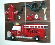 Centerpiece for fire dept 5 years and 15 thousand dollars Chris Steel made.fire truck bedroom decor ideas and designs fireman engine.firefighter decor mugs and glassware wedding decoration ideas. Fireman Room, Firefighter Bedroom, Firefighter Decor, Fire Truck Bedroom, Fire Truck Nursery, Truck Room, Truck Art, Bedroom Wall Colors, Bedroom Decor