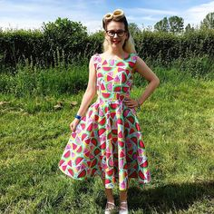 Watermelon Betty! Victory Rolls, Dress Sewing, Becca, Victorious, Watermelon, Sewing Patterns, Fancy, Summer Dresses, Shopping