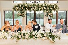 Head Table Floral Arrangement - Nikki Travis Wedding Cloud Nine Photography Table Flower Arrangements, Table Flowers, Wedding Centerpieces, Wedding Bouquets, Tall Centerpiece, Head Table Wedding Decorations, Head Table Decor, Head Table Backdrop, Floral Wedding