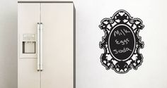 What a clever idea! It's a chalkboard wall art. Would definitely fit my chalkboard idea I have for the kitchen, while bringing elegance.