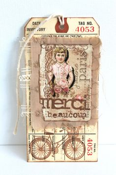 Shabby Chic Tags Bookmark Large Vintage Tags by creativecarmelina, $2.00