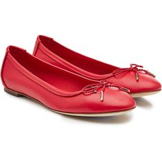 Salvatore Ferragamo Leather Ballerinas (1,120 SAR) ❤ liked on Polyvore featuring shoes, flats, red, red leather shoes, ballet shoes, red ballerina flats, flat shoes and ballerina flats