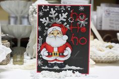 Made by Cindy Hoesel, Crissy Armstrong, Jolly Santa, Christmas card, card, Copics, Whimsy Stamps