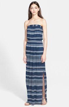 Splendid 'Safari' Stripe Strapless Maxi Dress available at #Nordstrom