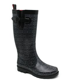 Love this Capelli New York Black Folksy Floral Rain Boot by Capelli New York on #zulily! #zulilyfinds