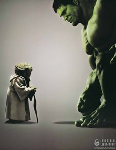 Yoda meets Hulk. Total discipline meets full anarchy and both share a still moment on canvas... Epic.