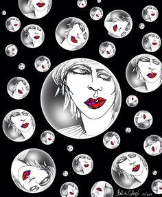 fashion, art, illustration, pop art, surrealism, modern art, black, white, portrait, bubbles by BelArtandStyle on Etsy https://www.etsy.com/listing/210840717/fashion-art-illustration-pop-art