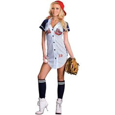 Sexy Grand Slam Baseball Player Costume for Adults (77 CAD) ❤ liked on Polyvore featuring costumes, halloween costumes, multicolor, baseball jerseys, adult costume, sexy halloween costumes, sports costumes and sexy sports costumes