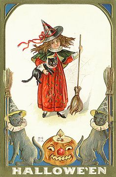 Wee witch Halloween Postcard