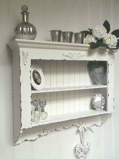 Gorgeous shabby chic wall hanging shelf. Grey and white