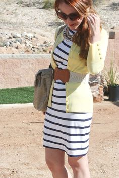 Stripes and a yellow cardi