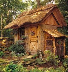Garden shed?A place to dream? Just a cute tiny house! Would love this as a garden shed esp. with dutch door Garden Cottage, Cozy Cottage, Fairytale Cottage, Witch Cottage, Storybook Cottage, Forest Cottage, Cottage Style, Backyard Cottage, Forest Cabin