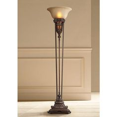 Fleur De Lis Champagne Glass And Bronze Torchiere Floor Lamp