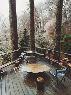Mountain lodge patio inspiration, in the crisp autumnal woods.