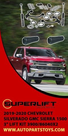 """SUPERLIFT 2019-2020 Chevrolet Silverado GMC Sierra 1500 3"""" LIFT KIT 3900/86040X2! Superlifts 3-inch lift kit for the Chevrolet Silverado and GMC Sierra is a simple solution for adding more height than a leveling kit. Wrangler accessories, Auto and Car accessories, Car parts, Jeep Parts, Camping hacks, road trips, Superlift suspension kit, Adventurous Accessories, Camping hacks, outdoor travel, adventure travel,vacation destinations! #auto #jeep #wrangler #superliftsuspension #carsuspension…"""