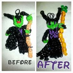 "Rainbow Loom MALEFICENT. Designed and loomed by Nicole Elizabeth Cook. ‎Rainbow Loom FB page 05/30/14. Nicole said: ""I did a post of this last night of my Maleficent charm and I revised her today, used some beads and made her cape longer I love this new look! And this is my own original design."""