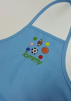 Kids Personalized apron / L-Blue Apron with Sage/Green embroidery thread /Cute Child Apron / Unisex apron by SouthernA on Etsy