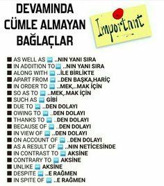 English Sentences, English Idioms, English Phrases, Learn English Words, English Grammar, English Language, English Lessons, Learn Turkish Language, Learn A New Language