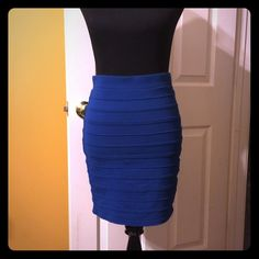 Blue stretch skirt Rayon, spandex, polyester stretch blue skirt Forever 21 Skirts Midi