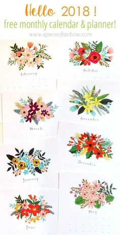 Printable January 2018 Calendar Monthly Planner – Floral Design